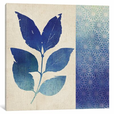 Indigo Leaves I Graphic Art on Wrapped Canvas Size: 12