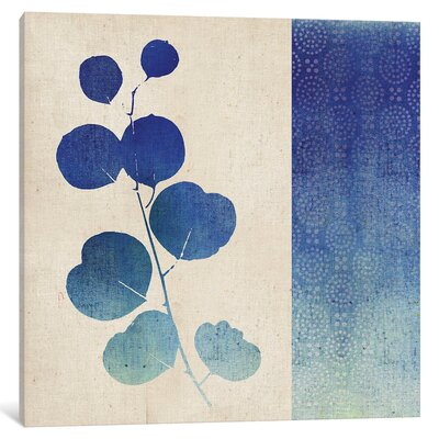 Indigo Leaves II Graphic Art on Wrapped Canvas Size: 12
