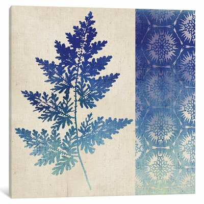 Indigo Leaves III Graphic Art on Wrapped Canvas Size: 12