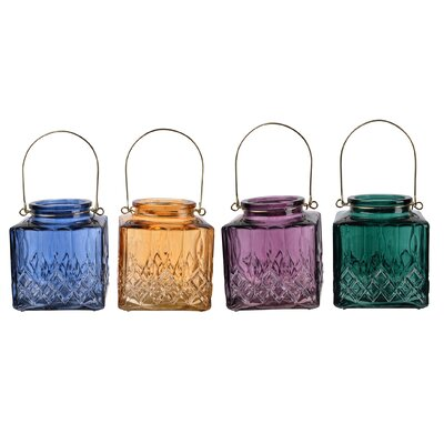 4 Piece Glass Candle Holder Set