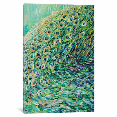 Iris Scott - Peacock Diptych Panel I Painting Print on Wrapped Canvas Size: 12