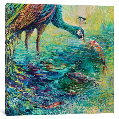 Iris Scott - Peacock Diptych Panel II Painting on Wrapped Canvas Size: 12