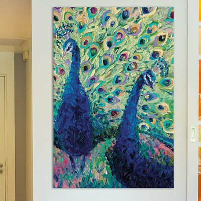 Iris Scott - Gemini Peacock Painting Print on Wrapped Canvas Size: 18