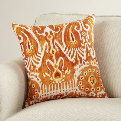 Clara Ikat Cotton Throw Pillow Color: Pumpkin, Size: 18 H x 18 W