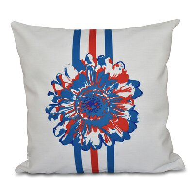 Willa Flower Child Throw Pillow Size: 16 H x 16 W, Color: Blue/Coral