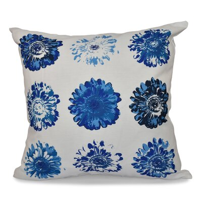 Willa Floral Outdoor Throw Pillow Size: 18 H x 18 W, Color: Blue/Coral