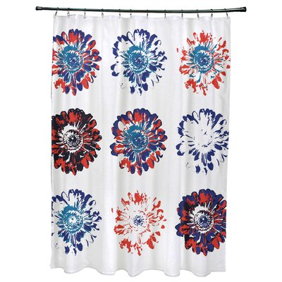 Willa Floral Print Shower Curtain Color: Red