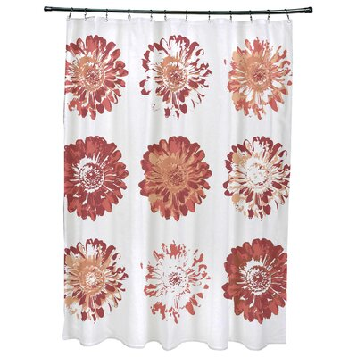Willa Floral Print Shower Curtain Color: Coral
