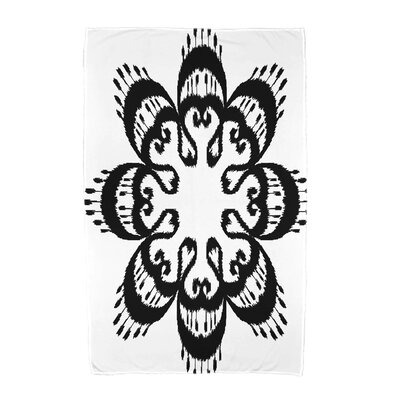 Willa Ikat Mandala Beach Towel Color: Black