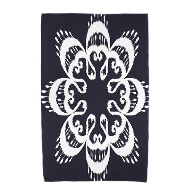 Willa Ikat Mandala Beach Towel Color: Navy Blue