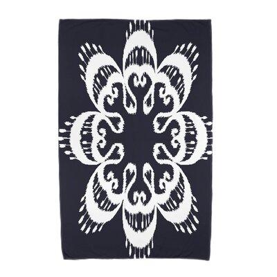 Willa Ikat Mandala Beach Towel Color: Navy Blue