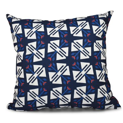 Willa Jodhpur Ditsy Geometric Outdoor Throw Pillow Size: 18 H x 18 W, Color: Navy Blue