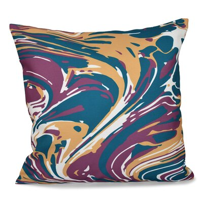 Willa Marble Blend Geometric Outdoor Throw Pillow Size: 20 H x 20 W, Color: Blue
