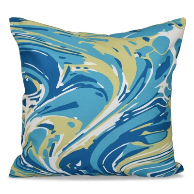 Willa Marble Blend Geometric Outdoor Throw Pillow Size: 18 H x 18 W, Color: Turquoise