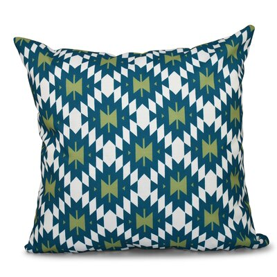 Willa Jodhpur Kilim 2 Geometric Outdoor Throw Pillow Size: 18 H x 18 W, Color: Teal