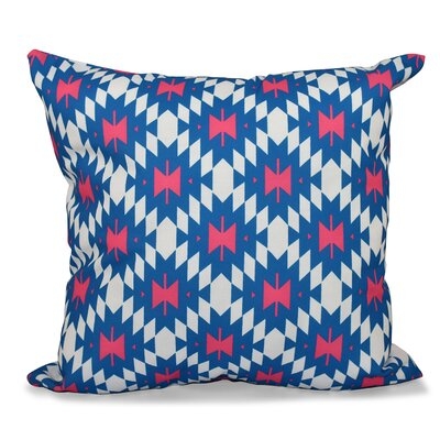 Willa Jodhpur Kilim 2 Geometric Outdoor Throw Pillow Size: 18 H x 18 W, Color: Coral
