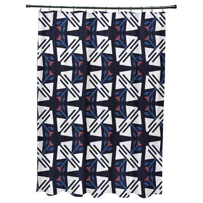 Willa Jodhpur Ditsy Geometric Print Shower Curtain Color: Navy Blue
