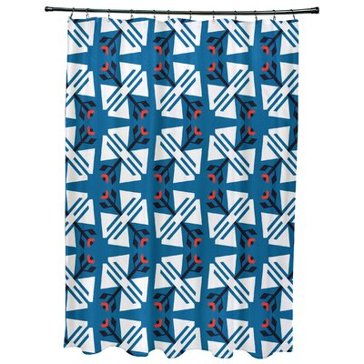 Willa Jodhpur Ditsy Geometric Print Shower Curtain Color: Blue