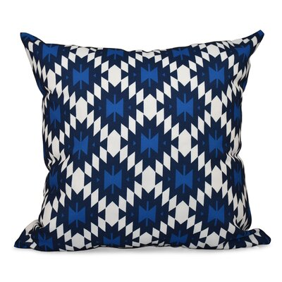 Willa Jodhpur Kilim Geometric Print Throw Pillow Color: Navy Blue, Size: 18 H x 18 W