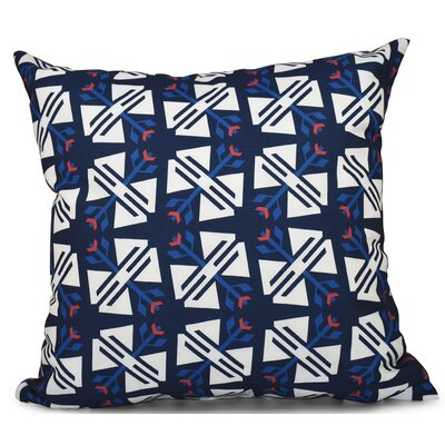 Willa Jodhpur Geometric Print Throw Pillow Size: 20 H x 20 W, Color: Navy Blue