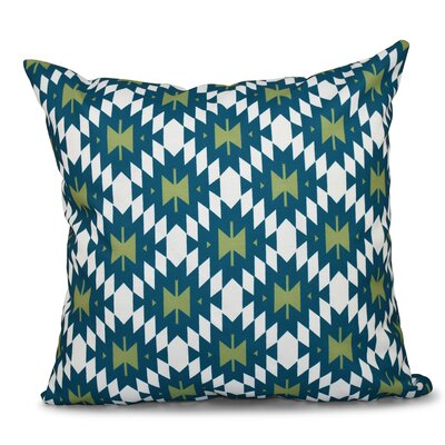 Willa Jodhpur Kilim 2 Geometric Print Throw Pillow Size: 18 H x 18 W, Color: Teal