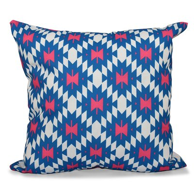 Willa Jodhpur Kilim 2 Geometric Print Throw Pillow Size: 16 H x 16 W, Color: Blue