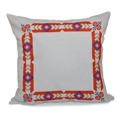 Willa Jodhpur Border Geometric Print Throw Pillow Size: 26 H x 26 W, Color: Orange