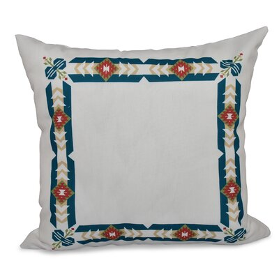 Willa Jodhpur Border Geometric Print Throw Pillow Color: Teal, Size: 26 H x 26 W