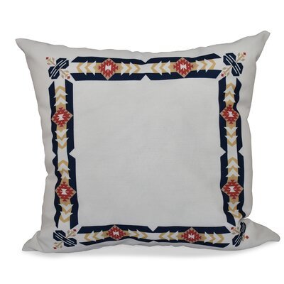 Willa Jodhpur Border Geometric Print Throw Pillow Size: 18 H x 18 W, Color: Navy Blue