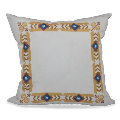 Willa Jodhpur Border Geometric Print Throw Pillow Size: 16 H x 16 W, Color: Gold