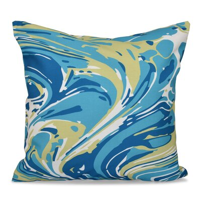 Willa Marble Blend Geometric Print Throw Pillow Size: 18 H x 18 W, Color: Turquoise