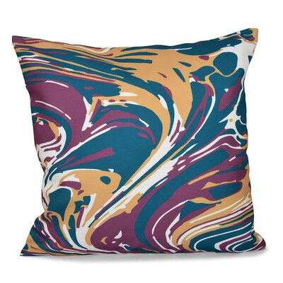 Willa Marble Blend Geometric Print Throw Pillow Size: 26 H x 26 W, Color: Purple