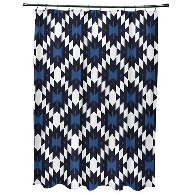 Willa Jodhpur Kilim Geometric Print Shower Curtain Color: Navy Blue