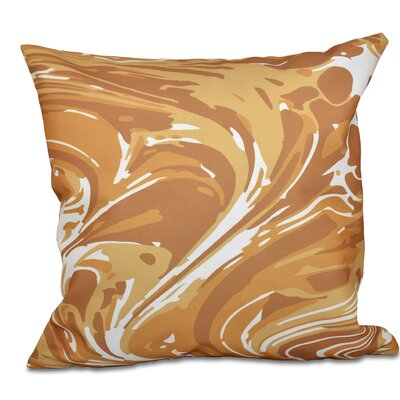 Willa Marble Geometric Print Throw Pillow Size: 18 H x 18 W, Color: Gold