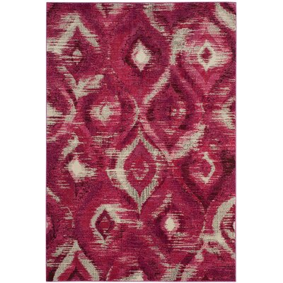 Lizotte Fuchsia / Cream Area Rug Rug Size: Rectangle 4 x 57