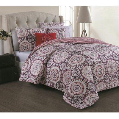 Mozingo 5 Piece Comforter Set Color: Coral, Size: Queen