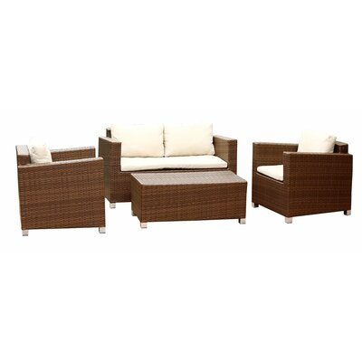Moua 4 Piece Deep Seating Group with Beige Cushions