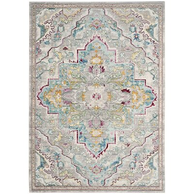 Lulu Floral Gray/Light Blue Area Rug Rug Size: Rectangle 5 x 8