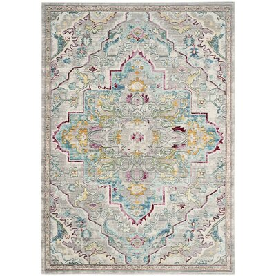 Lulu Floral Gray/Light Blue Area Rug Rug Size: 5 x 8