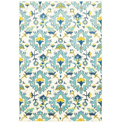 Mansi Blue/Yellow/Beige Area Rug Rug Size: Rectangle 53 x 76