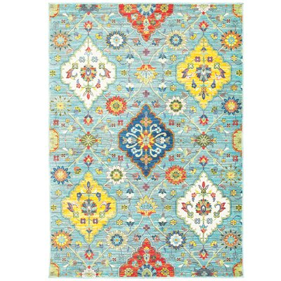 Mansi Blue/Yellow Area Rug Rug Size: Rectangle 53 x 76
