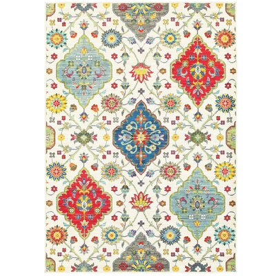 Mansi Beige/Blue/Red Area Rug Rug Size: Rectangle 53 x 76