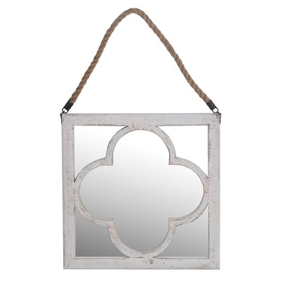 Square Washed Wooden Mirror