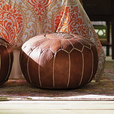 Carolos Pouf Leather Ottoman Upholstery: Brown