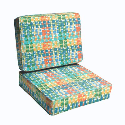 2 Piece Outdoor Chair Cushion Set Color: Blue/ Green