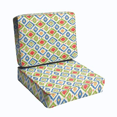 2 Piece Outdoor Chair Cushion Set Color: Red/ Green