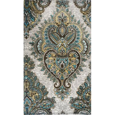 Misael Gray/Blue Area Rug Rug Size: 21 x 37