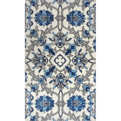 Misael Ivory/Blue Area Rug Rug Size: 21 x 37