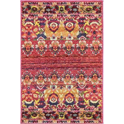 Rialto Red Area Rug Rug Size: 2'2 x 3'