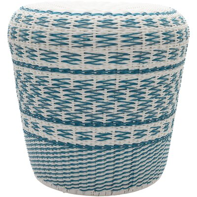 Sroka Accent Stool Color: Sky Blue/White